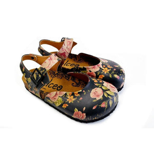 Pink Roses and Orange Flowers, Green Leaf Patterned Clogs - CAL1604