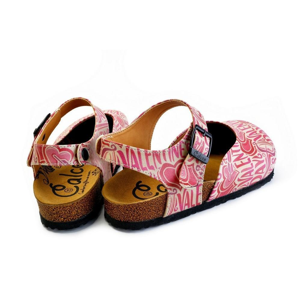 Beige and Red Color, Heart Patterned, Valentines Day Written Patterned Clogs - CAL1605