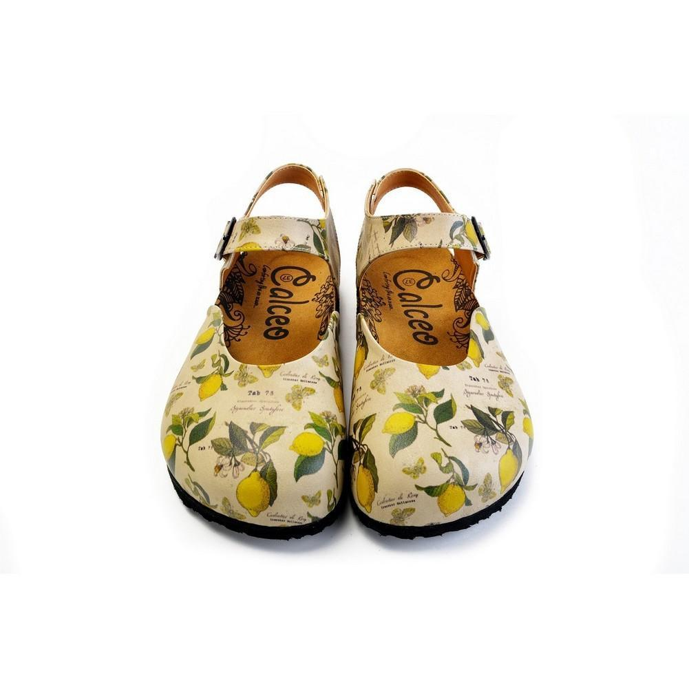 Beige, Green Leaf and Yellow Lemon Patterned and Yellow Butterflys Clogs - CAL1606