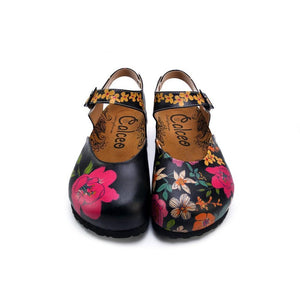 Pink, White, Orange Flowers and Blue, Green Leaf Patterned Clogs - CAL1609