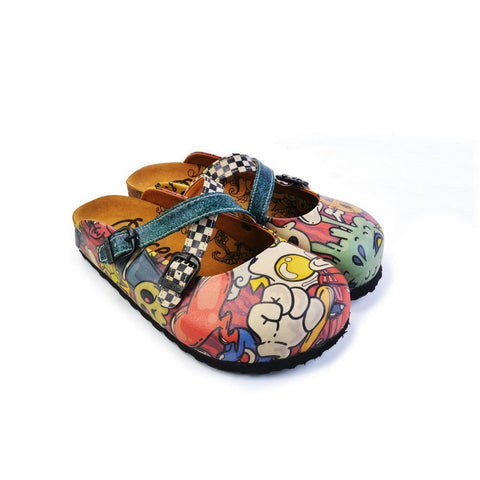 Colored Mixed Pink and Blue Abstrack Patterned Clogs - CAL168