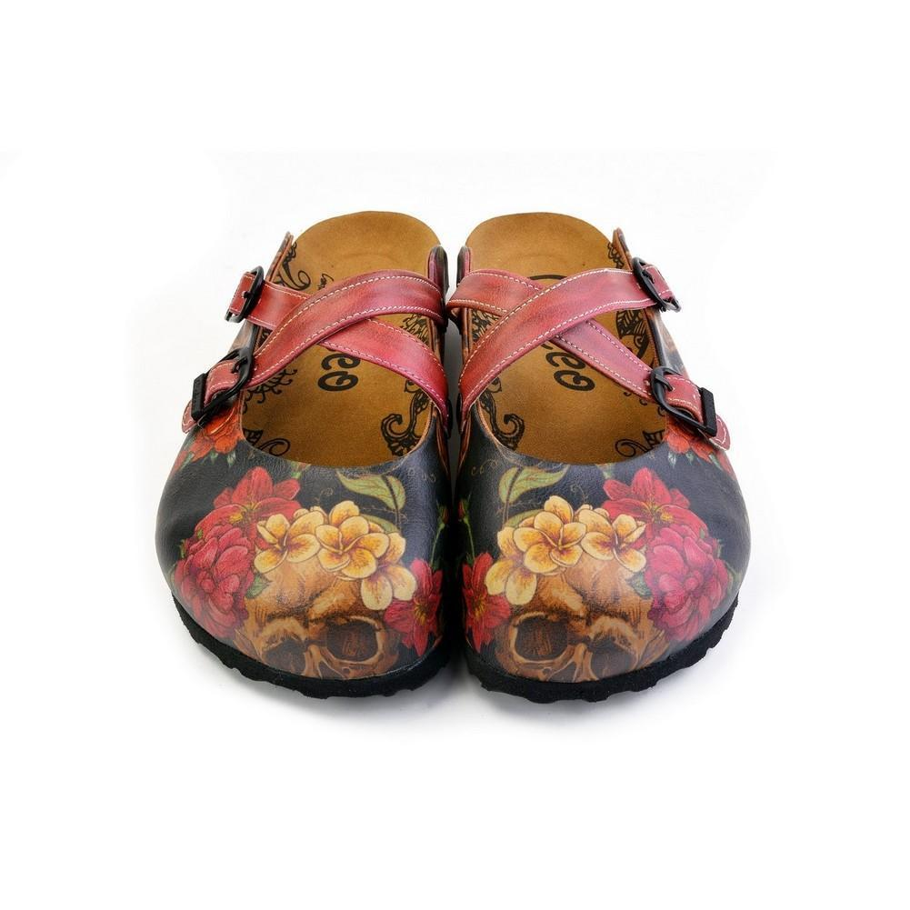 Red, Black Color and Flowering Skull Patterned Clogs - CAL171