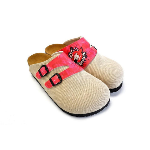 Beige, Pink Color and Girl Power Written Patterned Clogs - CAL1803