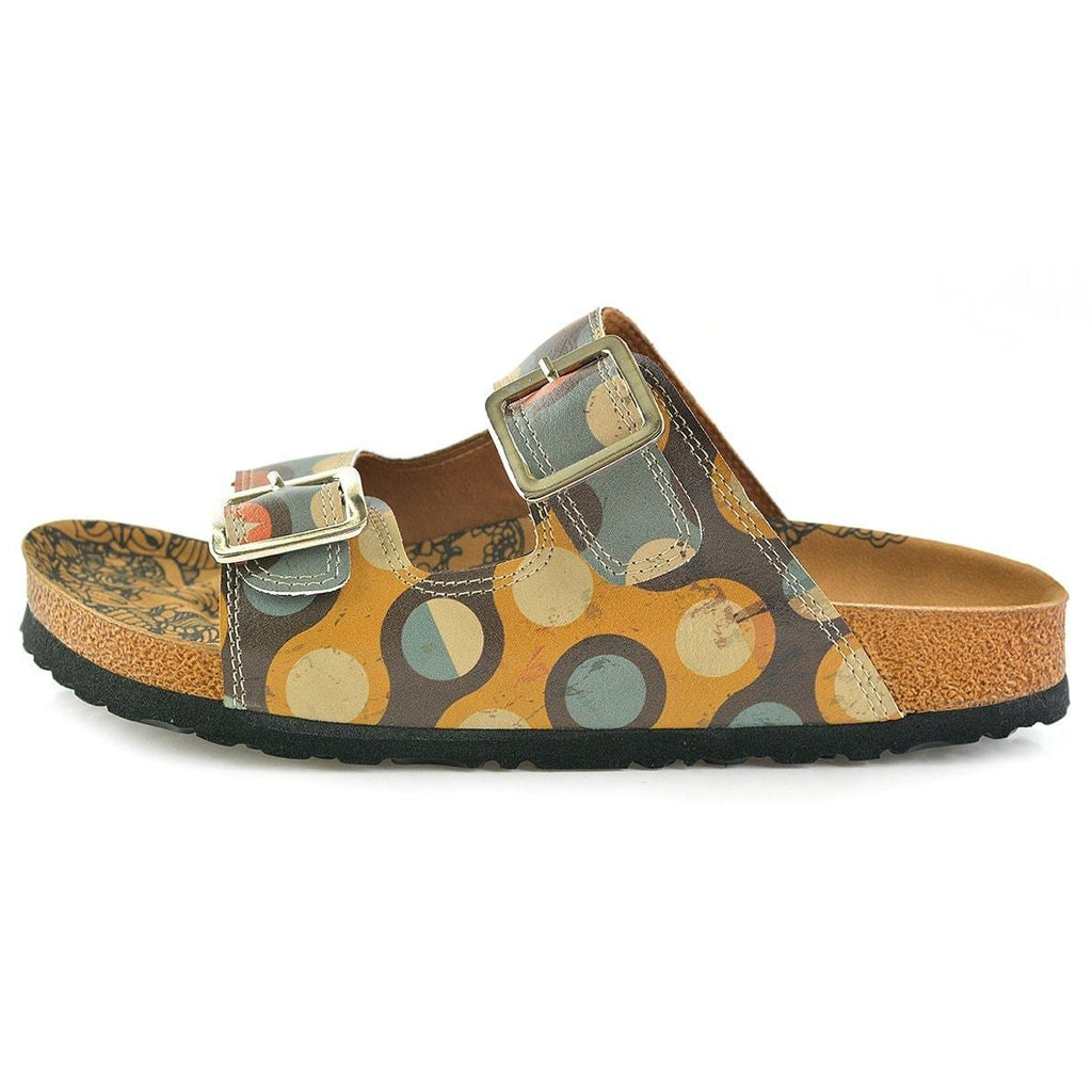 Blue, Yellow, Orange, Red Color Round Patterned Sandal - CAL201