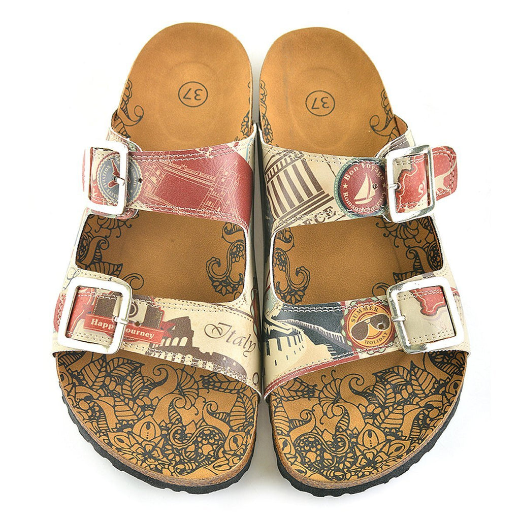 Cream, Red, Brown Italy Written Patterned Sandal - CAL202