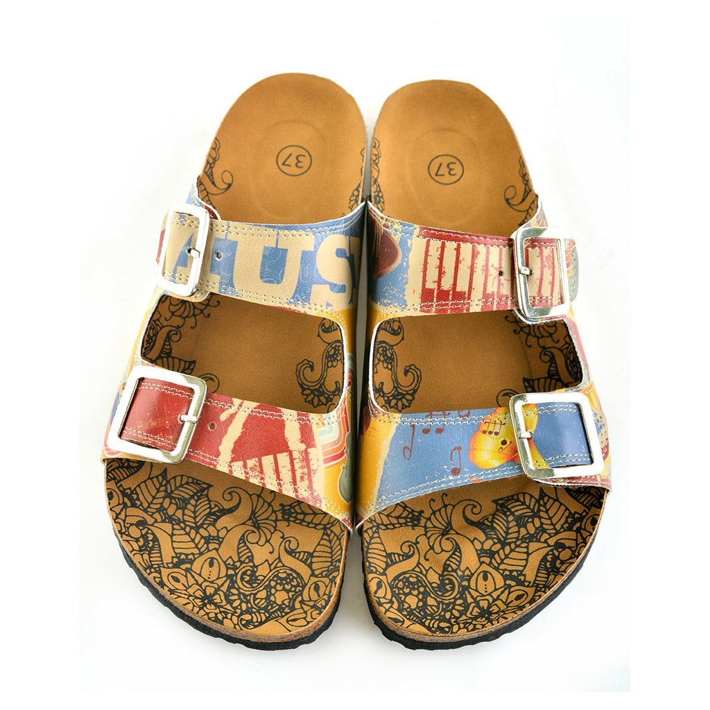 Cream and Blue Color Music Written and Red, Cream Piano Pattern and Music Notes Patterned Sandal - CAL204