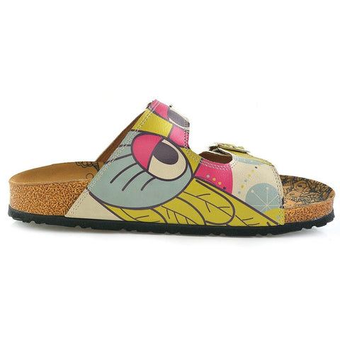 Blue, Pink, Cream, Yellow Color, Flowers Owl Patterned Sandal - CAL205
