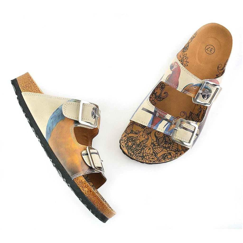 Red and Yellow Parrots Patterned Sandal - CAL208