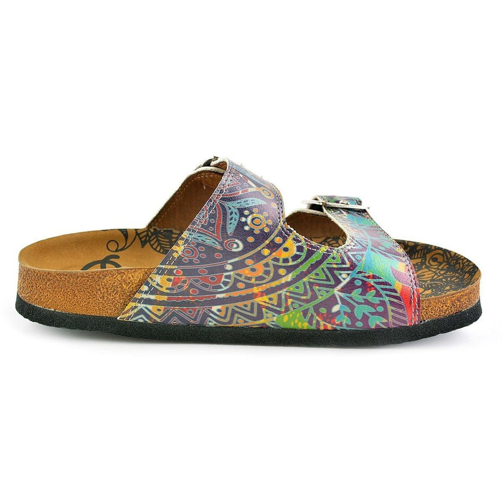 Blue, Green, Red, Colored Abstrack Patterned Sandal - CAL210