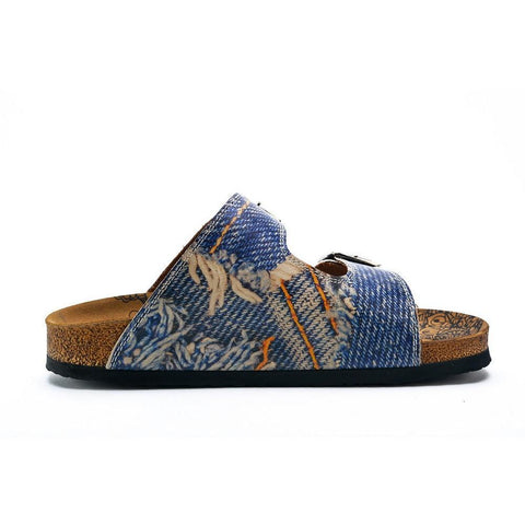 Blue and Cream Jeans Patterned Sandal - CAL212