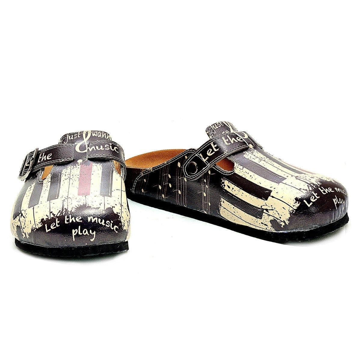 Black and White, Red Piano Pattern and Let the Music Play Written Patterned Clogs - CAL311