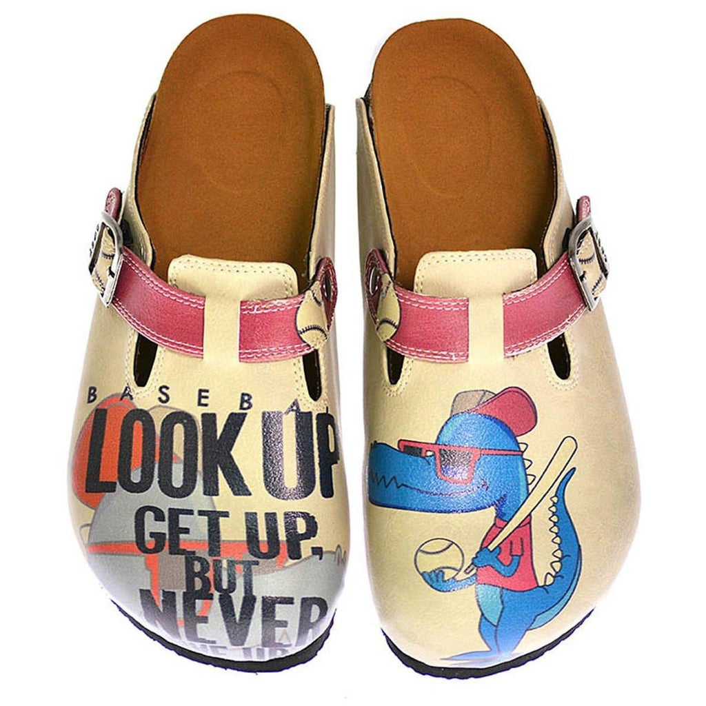 Cream Color and Blue Dinosaur Picture, Look Up Get Up But Never Written Patterned Clogs - CAL312