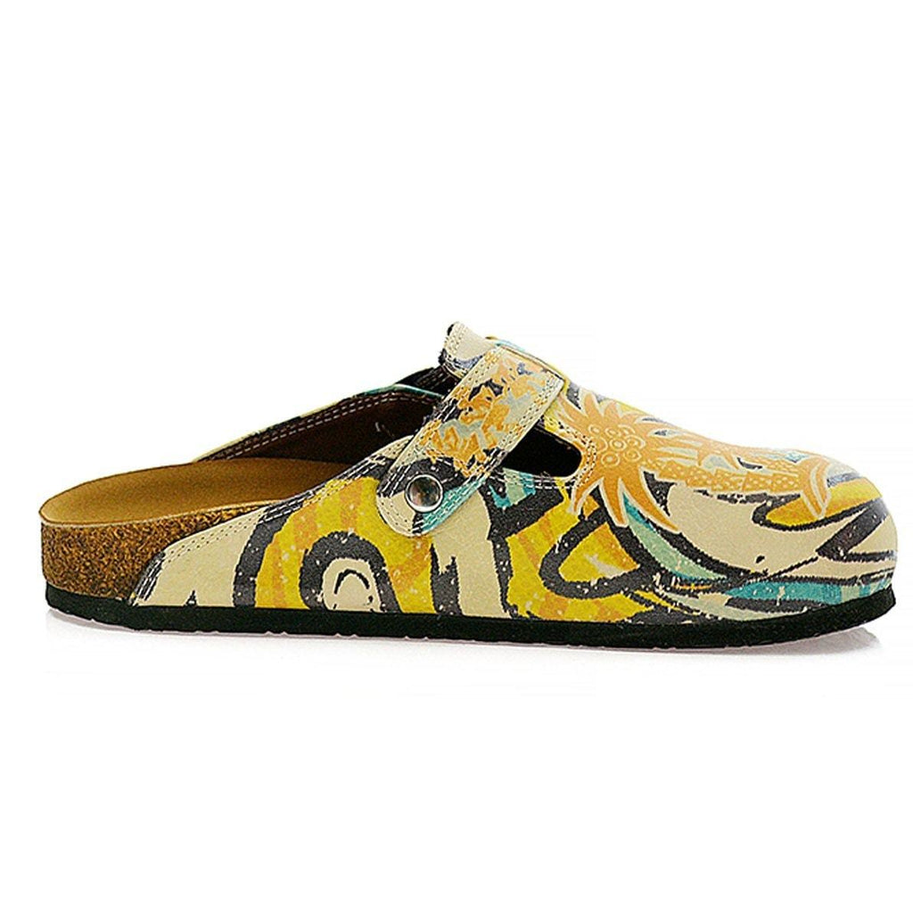Blue, Yellow and Tropicak Girl Patterned Clogs - CAL314