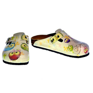 Cream Color and Colorful Owl and Cute Elephant Patterned Clogs - CAL315