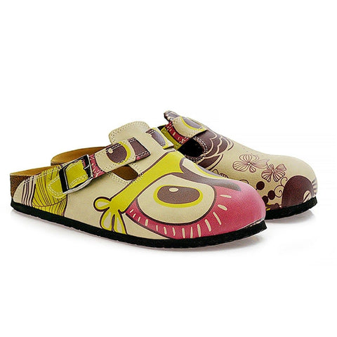 Pink, Cream, Purple and Cute Owl and Colorful Flowers Patterned Clogs - CAL317