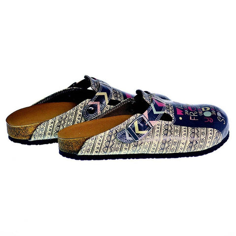 Black, White, Purple, Pink Triangle Strip and Black Shaped, Wild Free Young Spirit Written Patterned Clogs - CAL319