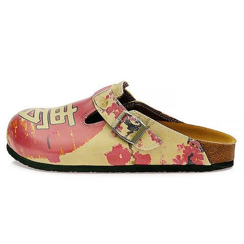 Red Flowers and Brown China Man, Red Patterned Clogs - CAL320