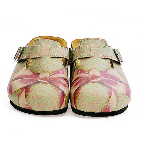Green, Purple Moving Lines and Pink Bow Patterned Clogs - CAL321