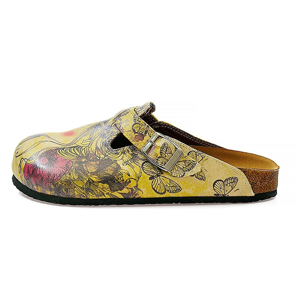 Yellow Color and Purple Flowers, Yellow Butterfly and Girl Portraits Patterned Clogs - CAL322