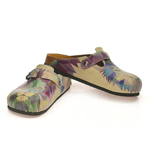 Beige Colored, Blue, Purple, Green Lion and Purple, Dark Blue Wolf Patterned Clogs - CAL335