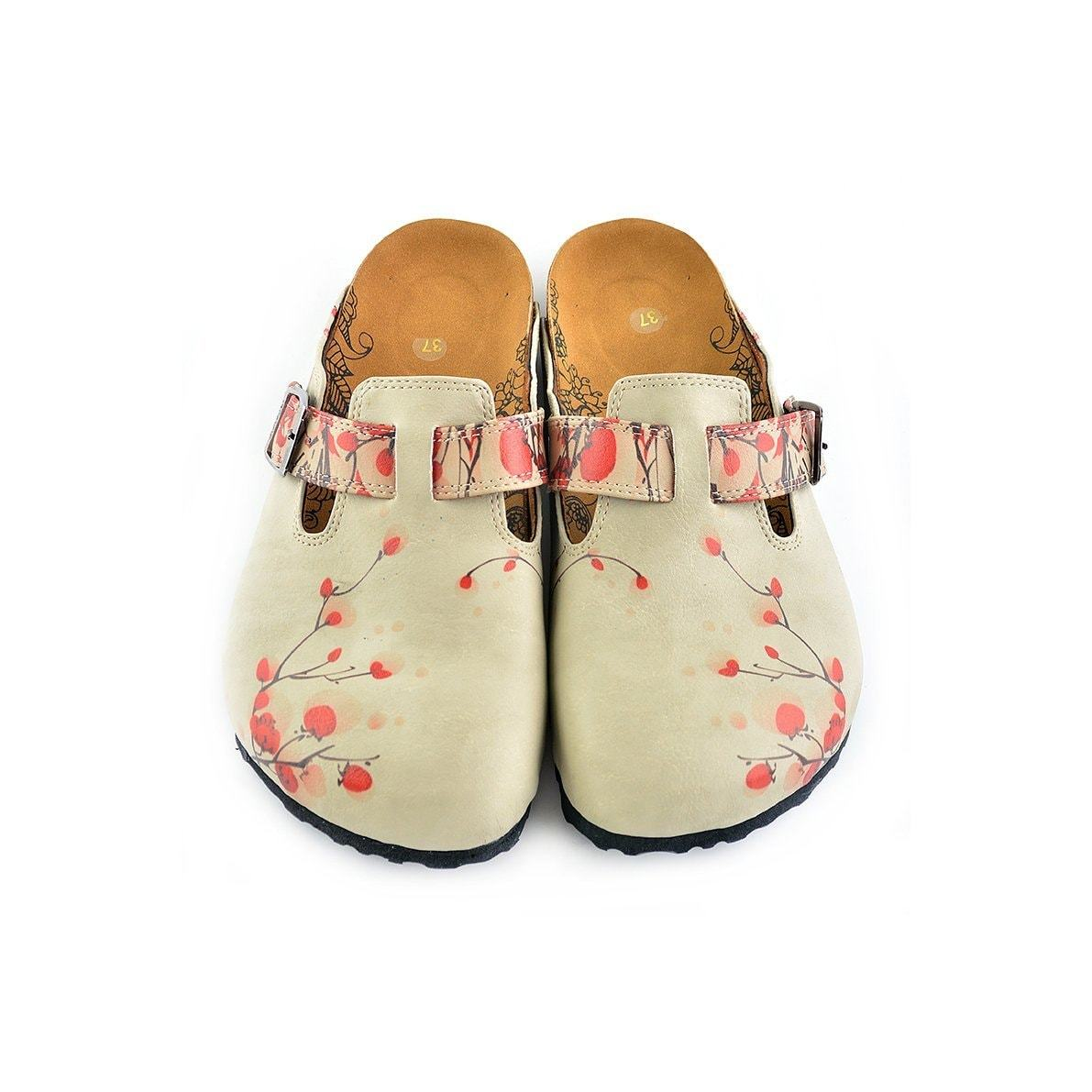 Beige Colored and Red Flowers Patterned Clogs - CAL340