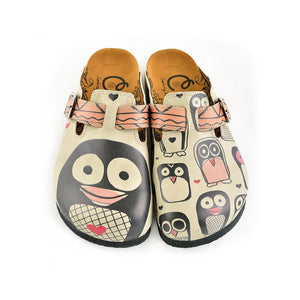 Light Pink, Black Striped and Black Cute Penguins Patterned Clogs - CAL347