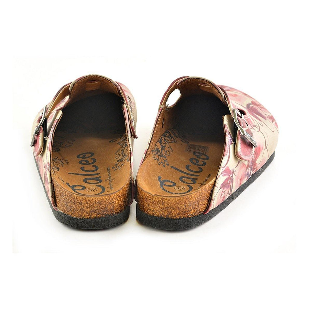 Red Colored and Flowers Patterned Clogs - CAL348