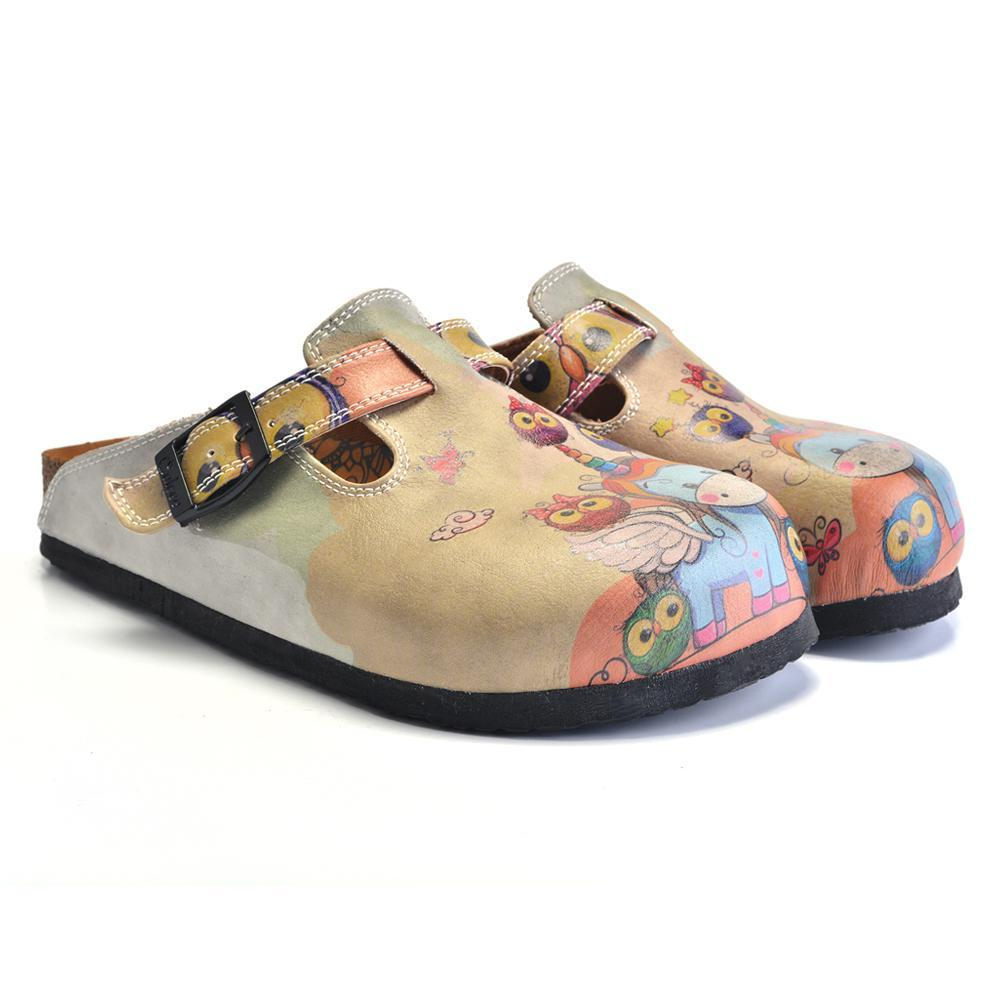 Colored Owls and Rainbow Winged Unicorn Patterned Clogs - CAL360