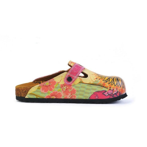 Orange, Purple, Yellow Flowers and Yellow Sun Patterned Clogs - CAL368