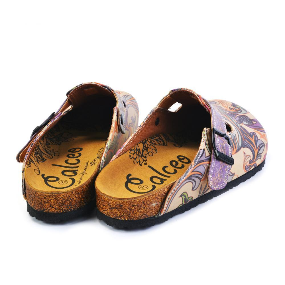 Purple, Pink, Orage Flowers and Green Leaf Patterned Clogs - CAL371