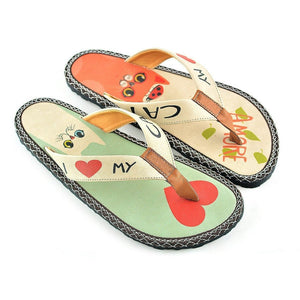 White, Red Cat Pattern, Light Green, Cream Colored I Love You Written Flip-Flops Flip-Flops - CAL402