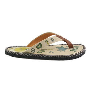 Green Flowers, Mustard Yellow Guitar and Green Stars Pattern, Peace Love Written Flip-Flops - CAL406