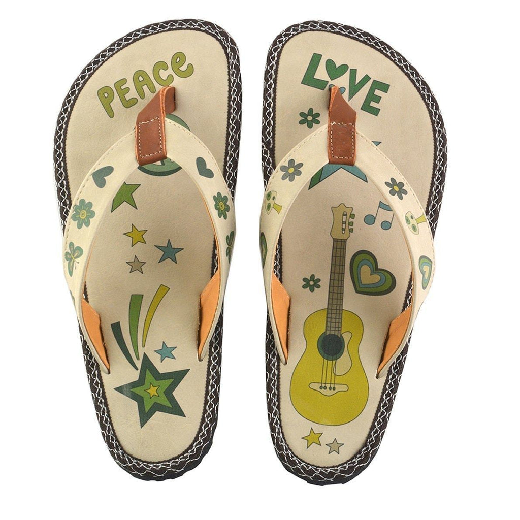 Green Peace Love Flip-Flop CAL406