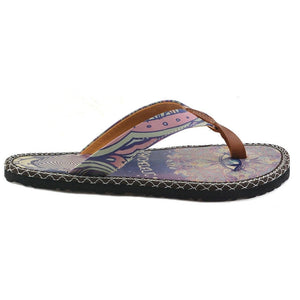 Light Pink, Fuchsia Colored Mixed Pattern and Psychedelic Written Patterned Flip-Flops - CAL410