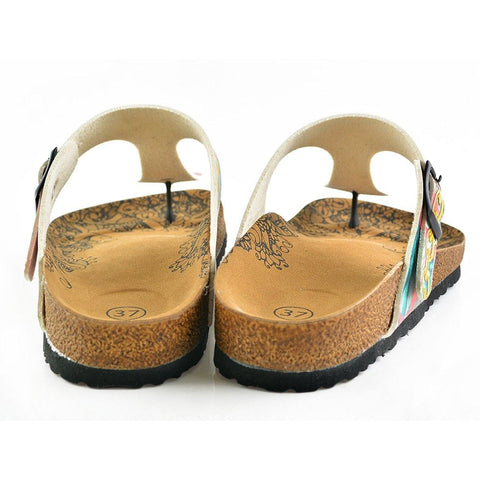 Red Colored, Green and Blue Leafed, Money Patterned Sandal CAL501