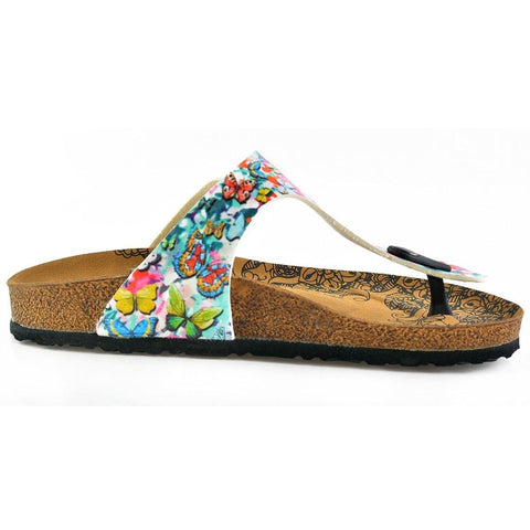 Pink Flowers Colored and Butterflys Patterned Sandal - CAL505