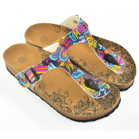 Summer Written, Purple, Colored Mixed Pattern and Yellow Sun Patterned Sandal - CAL507