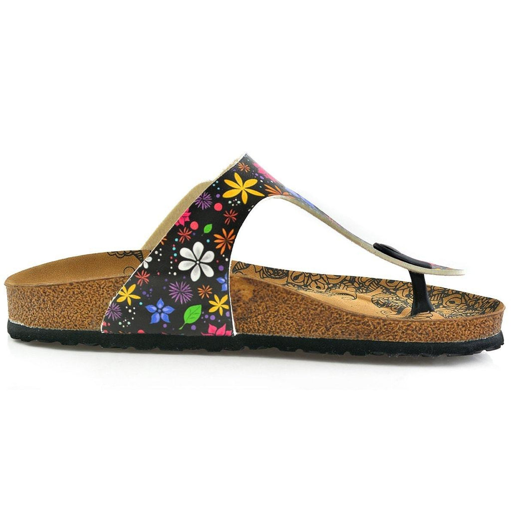 Black Colored and White Bright, Colored Flowers Patterned Sandal - CAL512