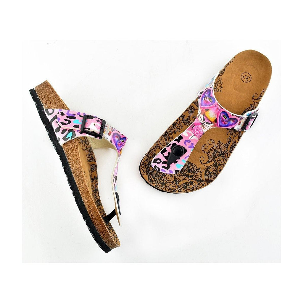 Pink and Purple Colored Leopard Patterned Sandal - CAL513