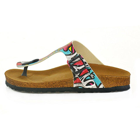 Red, Blue, Yellow Geometric Patterned Sandal - CAL515