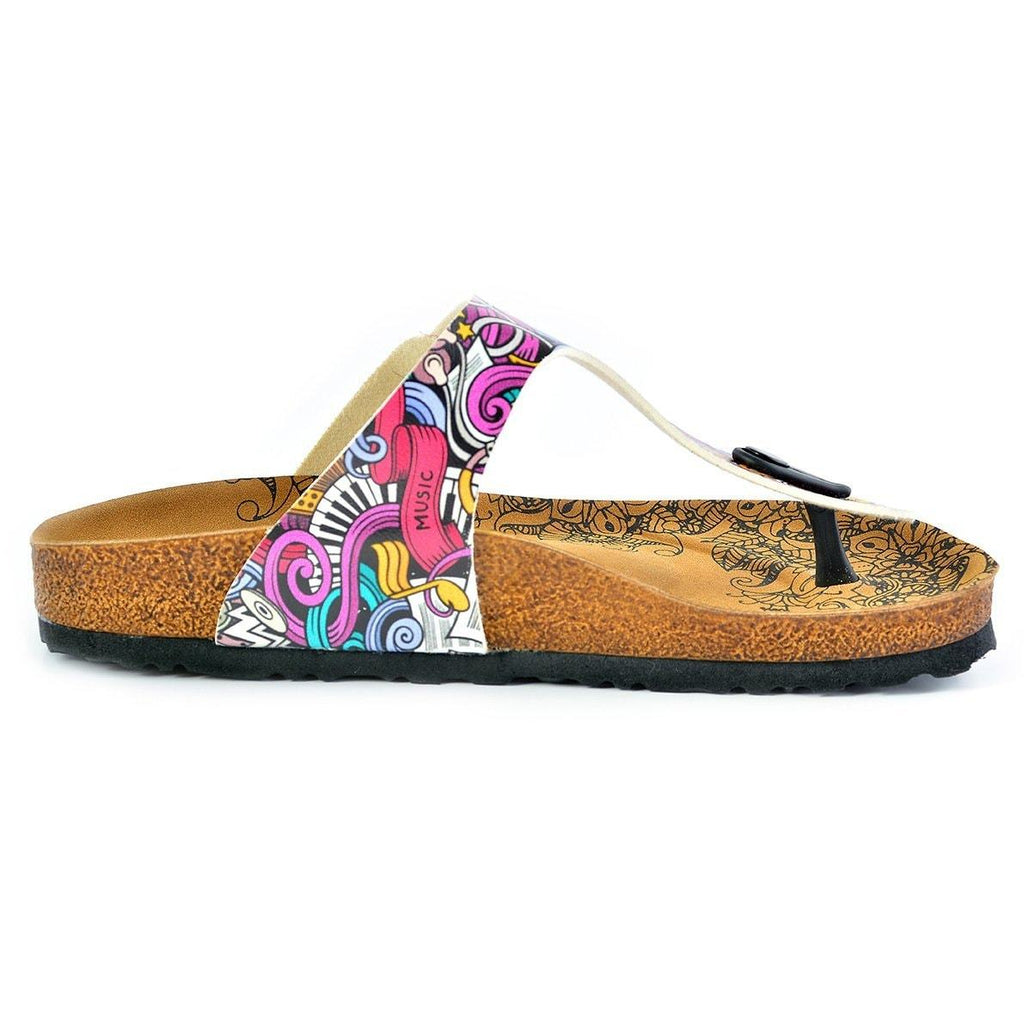 Pink, Purple Mixed Patterned, Music Writtened, Patterned Sandal - CAL516