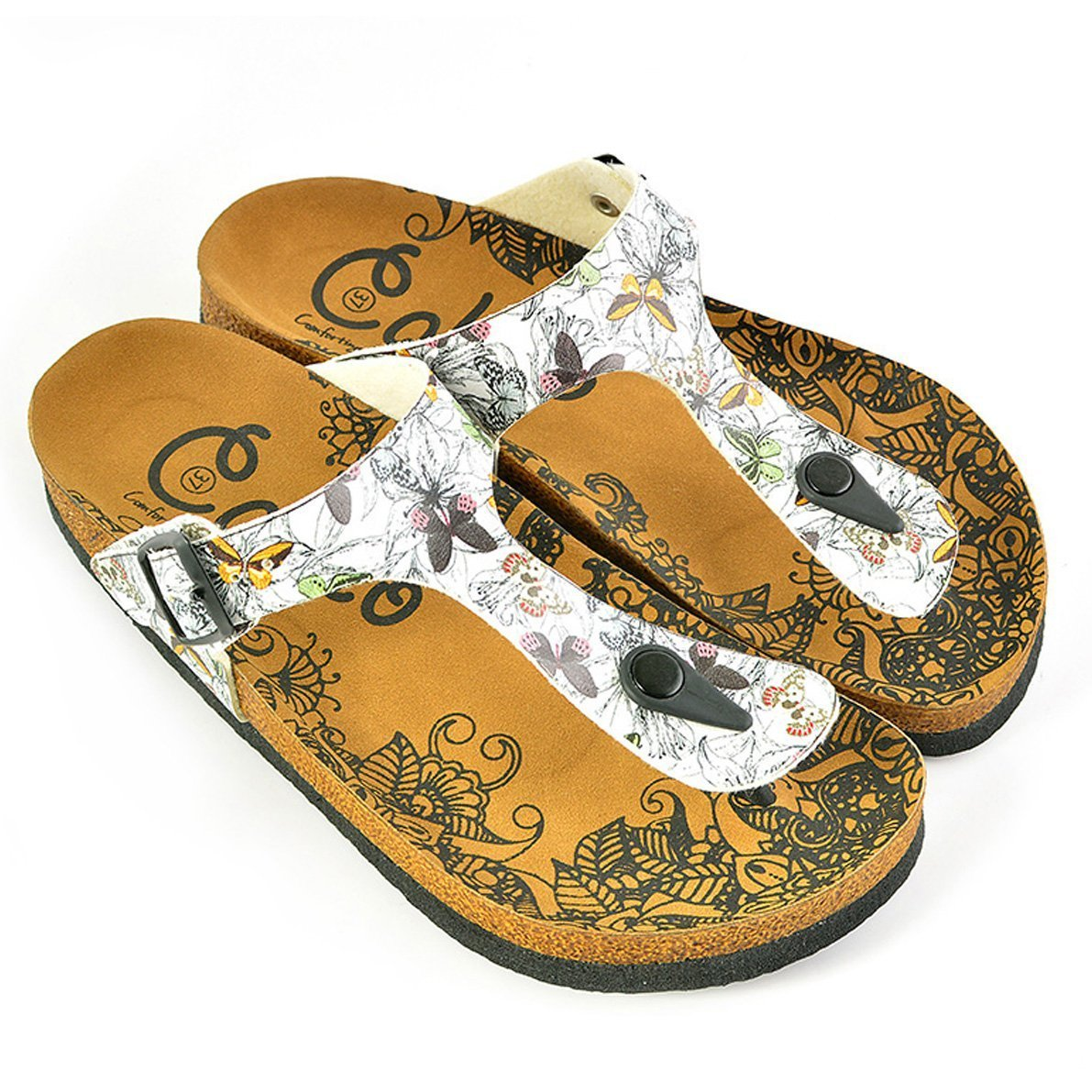 Black and White Flowers and Butterflied Patterned Sandal - CAL524