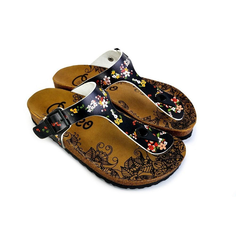 Black and Colored Flowers Patterned Sandal - CAL526