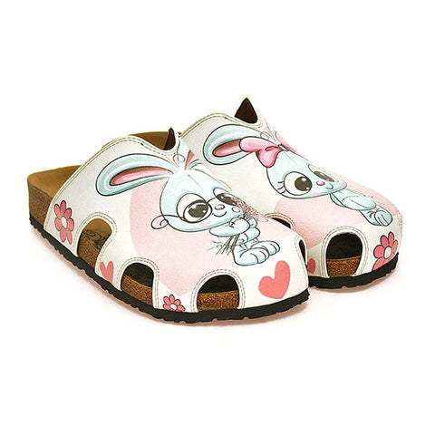 Pink and White Colored Flowers and Grey Cute Bunny Patterned Clogs - WCAL601