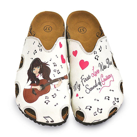 White and Red Hearted Patterned, Music Notes and Playing Guitar Girl Patterned Clogs - WCAL602