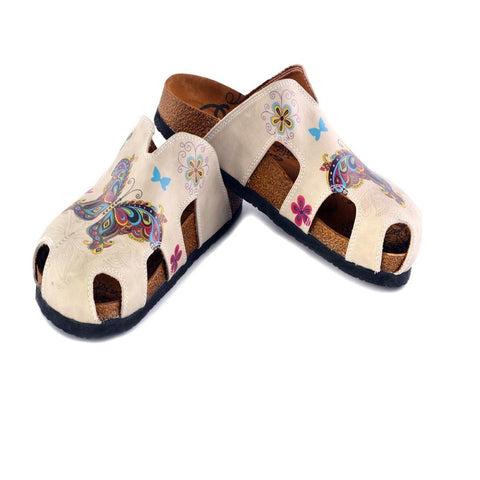 Cream Colored and Butterfly and Bird Patterned Clogs - CAL608