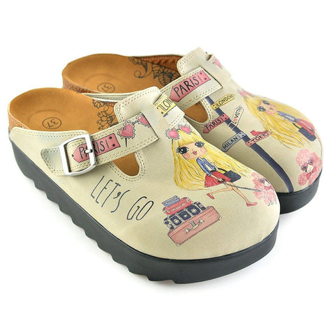 Pink and Yellow Colored, London, Paris Written, Traveling Blonde Girl Clogs - CAL701