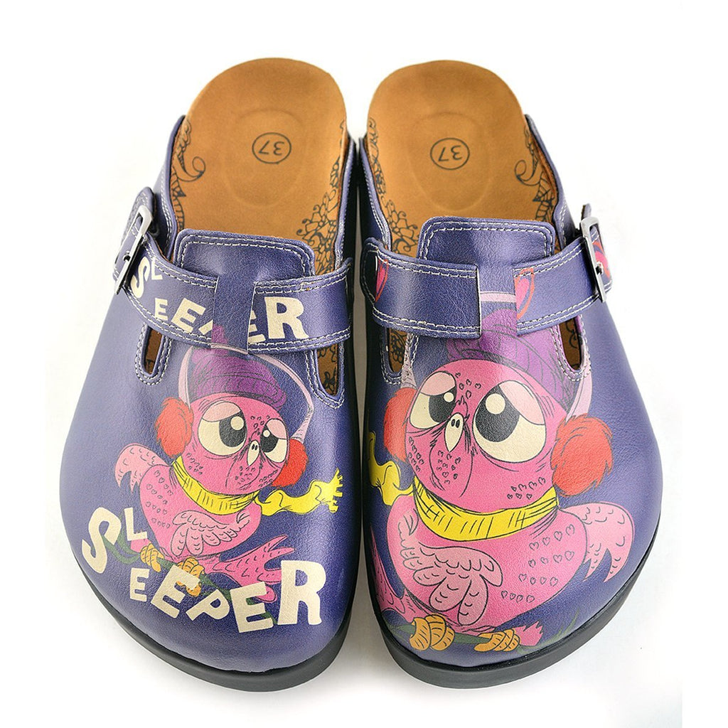 Dark Blue, Purple Owl, Sleeper Patterned Clogs - CAL702
