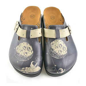 Black Spaced, Cream Star Bright and Black Moon, Astronaut Patterned Clogs - CAL704