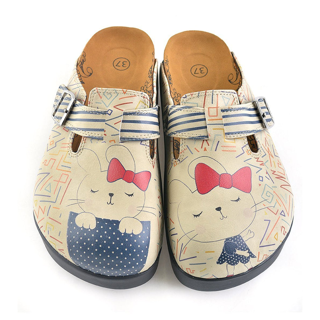 Blue and Cream Colored Strip, Blue Colored Sweet Cat Patterned Clogs - CAL706